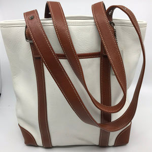COACH M White Brown Leather Shoulder Bag